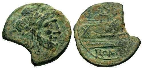 Ancient Coins - VF/VF Anonymous Republic AE Semis 91 BC