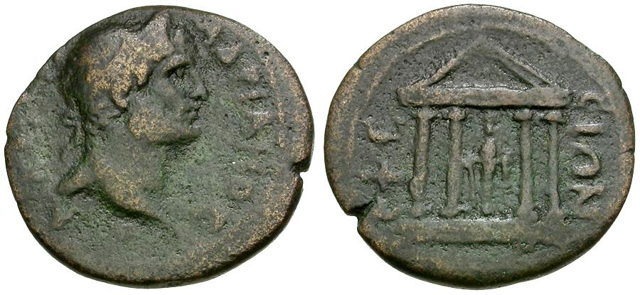 Ancient Coins - Hadrian (AD 117-138). Ionia. Ephesus Æ23 / Temple of Artemis