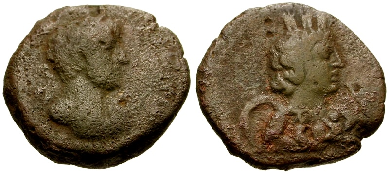 Ancient Coins - Hadrian, Arabia Bostra Æ18 / Bust of Arabia