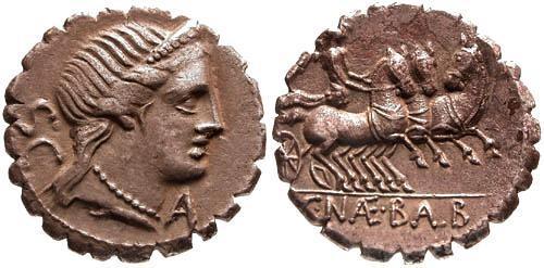 Ancient Coins - 79 BC / VF/VF Naevia 6 Roman Republic Denarius / Victory in triga