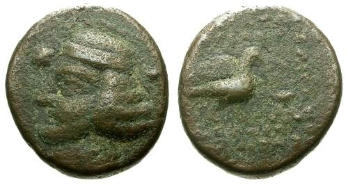Ancient Coins - F/aF Kings of Parthia Orodes II AE Dichalkon / Eagle