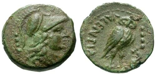 Ancient Coins - VF/VF Bruttium Vibo Valentia AE Triens / Minerva / Owl