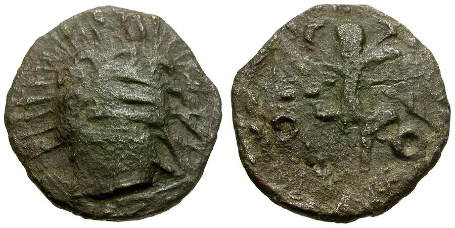 Ancient Coins - Goths.  Black Sea, Taman Peninsula, Billon Denarius / Figure holding trophy