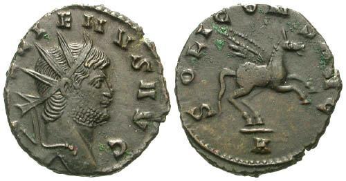 Ancient Coins - EF/EF Gallienus AE Antoninianus / Pegasos