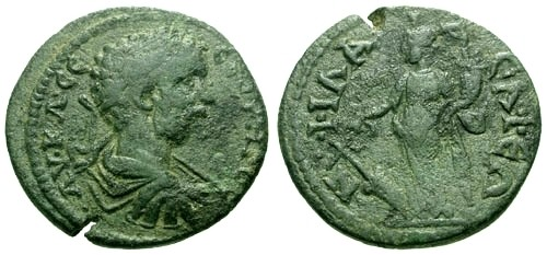 Ancient Coins - aVF/aVF Septimius Severus Lydia Philadelphia AE22 / Tyche