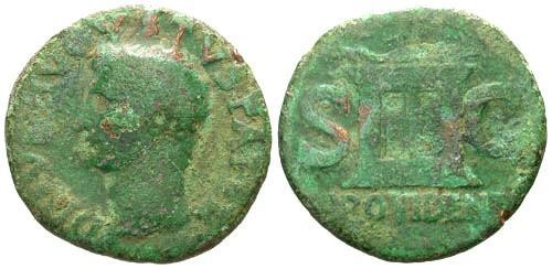 Ancient Coins - F/F Augustus Posthumous AS by Tiberius / Altar PROVIDENT