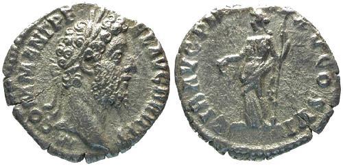 Ancient Coins - EF/VF Commodus Denarius / Libertas