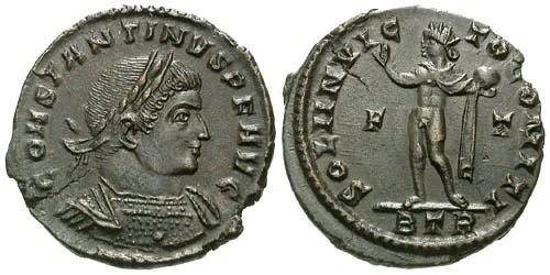 Ancient Coins - EF/EF Constantine I AE follis / Sol  R4