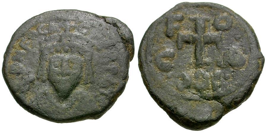 Ancient Coins - *Sear 685* Byzantine Empire. Phocas (AD 602-610) Æ Half Follis