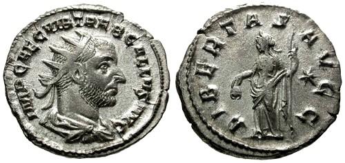 Ancient Coins - EF/VF Trebonianus Gallus AR Antoninianus / Liberty