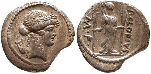 Ancient Coins - 42 BC / VF/VF Claudia 15 Roman Republic Denarius / Diana Lucifera holding torches