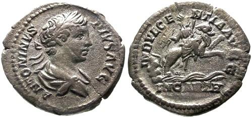 Ancient Coins - VF/VF Caracalla AR Denarius / Caelestis on Lion
