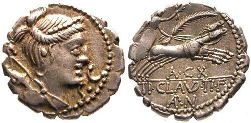Ancient Coins - 79 BC / EF/EF Claudia 5 Roman Republic Denarius / Victory in Biga