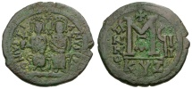 Ancient Coins - Byzantine Empire.  Justin II and Sophia Æ Follis