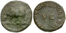 Ancient Coins - Domitian Æ Quadrans / Rhinoceros