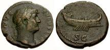 Ancient Coins - aVF/aVF Hadrian Æ AS / Galley