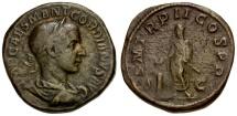 Ancient Coins - Gordian III Æ Sestertius / Gordian Sacrificing