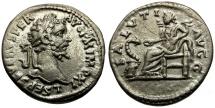 Ancient Coins - Septimius Severus AR Denarius / Salus Seated
