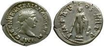 Ancient Coins - Trajan AR Denarius / Statue of Hercules
