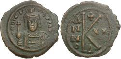 Ancient Coins - *Sear 497* Byzantine Empire. Maurice Tiberius (AD 582-602) Æ Half-Follis