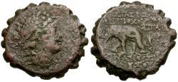 Ancient Coins - Seleucid Kings. Antiochus VI Dionysus (144-142 BC). Royal Coinage. Serrate Æ22  / Elephant