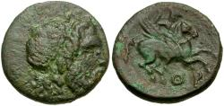 Ancient Coins - Corinthia. Corinth Æ19 / Bellerophon Riding Pegasus