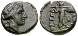 Ancient Coins - Thessaly. Thessalian League Æ15 / Athena