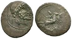 Ancient Coins - 88 BC - Roman Republic. C. M. Censorinus AR Denarius / Pompilius and Marcius / Desultor on horseback