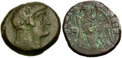 Ancient Coins - Ptolemaic Kings of Egypt. Ptolemy V and Cleopatra I Æ26 / Eagle