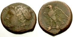 Ancient Coins - gF+/gF+ Sicily, Syracuse, Hiketas Æ24 / Apollo / Eagle
