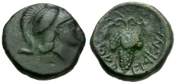 Ancient Coins - Lokris.  Lokris Opuntii Æ13 / Athena and Grapes