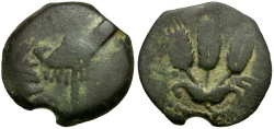 Ancient Coins - Judaea. Agrippa I Æ18 / Canopy