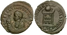 Ancient Coins - Constantine II as Caesar Æ3 / Globe on Altar