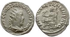Ancient Coins - Trebonianus Gallus (AD 251-253) AR Antoninianus / Roma Seated