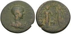 Ancient Coins - Tranquillina (AD 238-244). Perge and Side Alliance Æ26 / Artemis Pergaia and Athena of Side