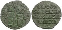 Ancient Coins - *Sear 1730* Byzantine Empire. Leo VI the Wise (AD 886-912) with Alexander Æ Follis