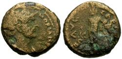 Ancient Coins - Hadrian, Judaea, Samaria Caesarea Maritima Æ17 / Apollo