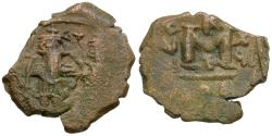 Ancient Coins - *Sear 1010* Byzantine Empire. Constans II (AD 641-668) with Constantine IV Æ Follis