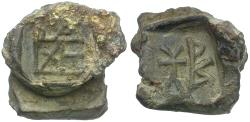 Ancient Coins - Byzantine Empire. Two Lead Seals Fused Together