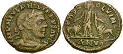 Ancient Coins - Philip I. Moesia Superior. Viminacium Æ31 / Moesia with Bull and Lion