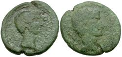 Ancient Coins - Augustus and Tiberius. Macedon. Thessalonica Æ22 / Portraits