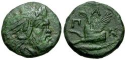 Ancient Coins - Cimmerian Bosporus. Pantikapaion Æ Tetrachalkon / Griffin