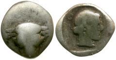 Ancient Coins - Phokis. Federal Coinage AR Triobol or Hemidrachm / Bull and Artemis