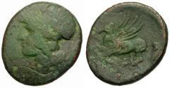 Ancient Coins - F/gF Bruttium Lokroi Epizephyrii Time of Pyrrhos of Epeiros Æ25 / Athena / Pegasus