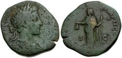 Ancient Coins - Commodus Æ Sestertius / Libertas