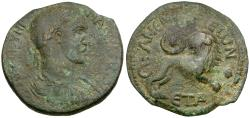 Ancient Coins - Maximinus I. Cilicia. Anemurium Æ31 / Lion and Star in Crescent