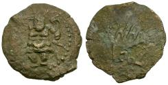 Ancient Coins - Spain. Balearic Islands. Ebusus Æ22 / Squatting Kabeiros