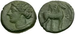 Ancient Coins - Zeugitania. Carthage Æ16 / Horse and Palm tree
