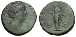 Ancient Coins - Faustina Senior, Wife of Antoninus Pius.  Æ As / Juno-Aeternitas