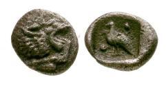 Ancient Coins - EF/EF Caria, Mylasa AR Tetartemorion / Lion / Bird